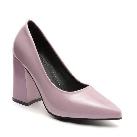New Rough Shallow Mouth All-Match Occupation Female Leather High-Heeled Shoes - PAPAYA 35