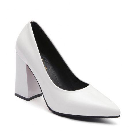 New Rough Shallow Mouth All-Match Occupation Female Leather High-Heeled Shoes - WHITE 35