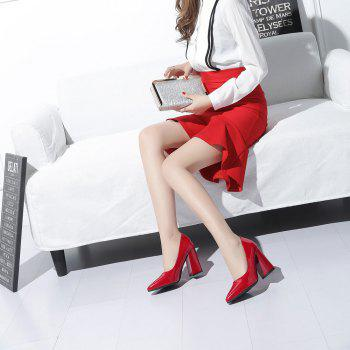 New Rough Shallow Mouth All-Match Occupation Female Leather High-Heeled Shoes - RED 37
