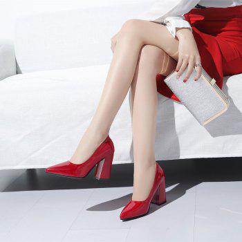 New Rough Shallow Mouth All-Match Occupation Female Leather High-Heeled Shoes - RED 35