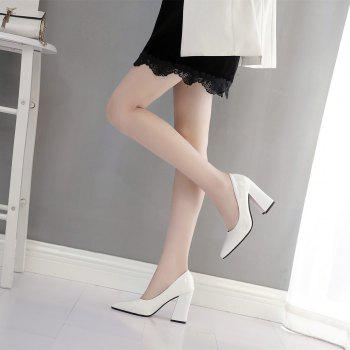 New Rough Shallow Mouth All-Match Occupation Female Leather High-Heeled Shoes - WHITE 38