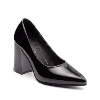 New Rough Shallow Mouth All-Match Occupation Female Leather High-Heeled Shoes - BLACK BLACK