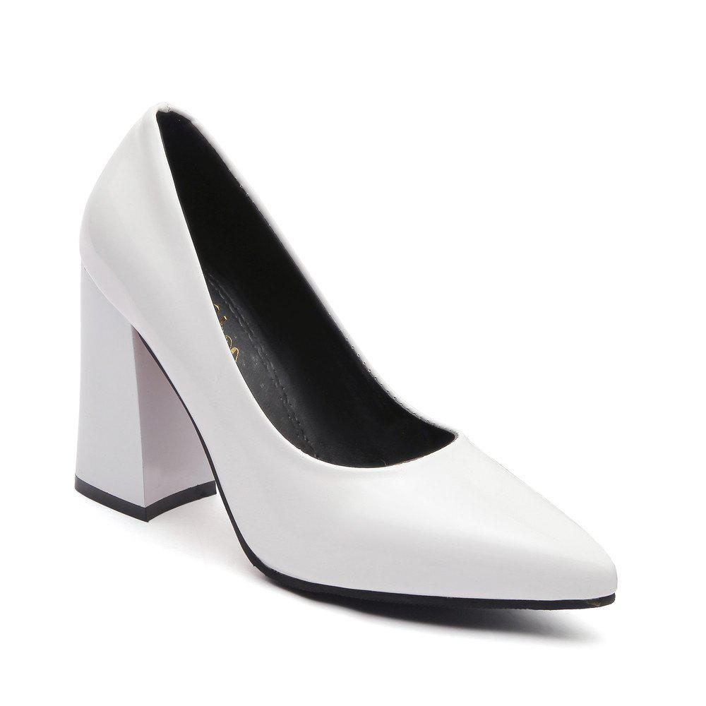 New Rough Shallow Mouth All-Match Occupation Female Leather High-Heeled Shoes - WHITE 36