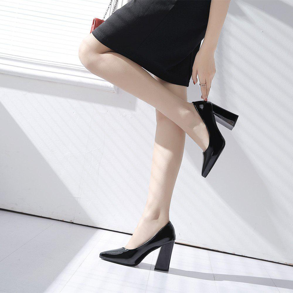 New Rough Shallow Mouth All-Match Occupation Female Leather High-Heeled Shoes - BLACK 40
