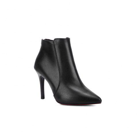 New Fashion Boots  Zipper Thin High-Heeled Shoes - BLACK 38