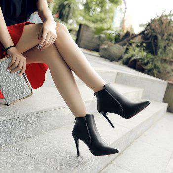 New Fashion Boots  Zipper Thin High-Heeled Shoes - BLACK 35