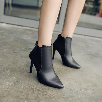 New Fashion Boots  Zipper Thin High-Heeled Shoes - BLACK 36