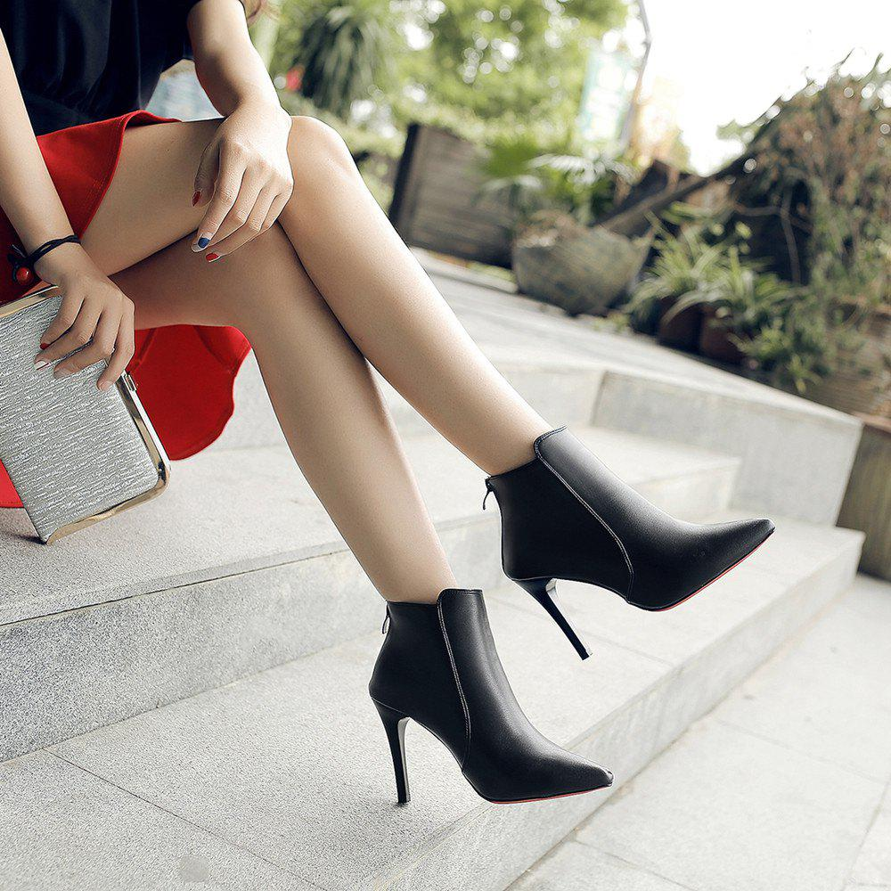 New Fashion Boots  Zipper Thin High-Heeled Shoes - BLACK 34