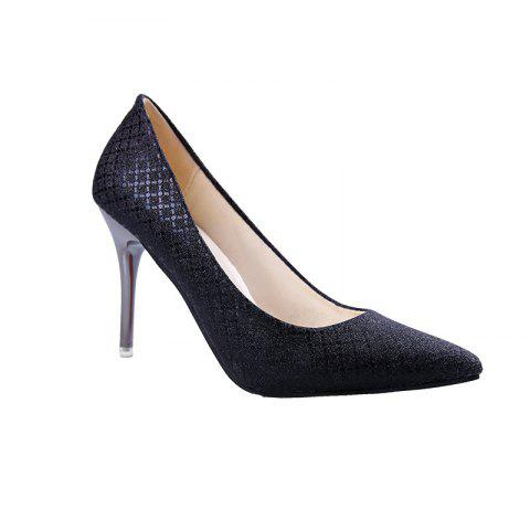 The New Shoes with A Fine Pointed Muzzle Foot High-Heeled Shoes Sexy Light - BLACK 39