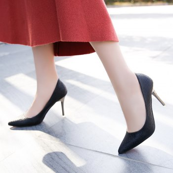 The New Shoes with A Fine Pointed Muzzle Foot High-Heeled Shoes Sexy Light - BLACK BLACK