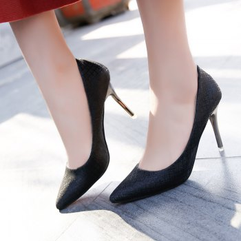 The New Shoes with A Fine Pointed Muzzle Foot High-Heeled Shoes Sexy Light - BLACK 35