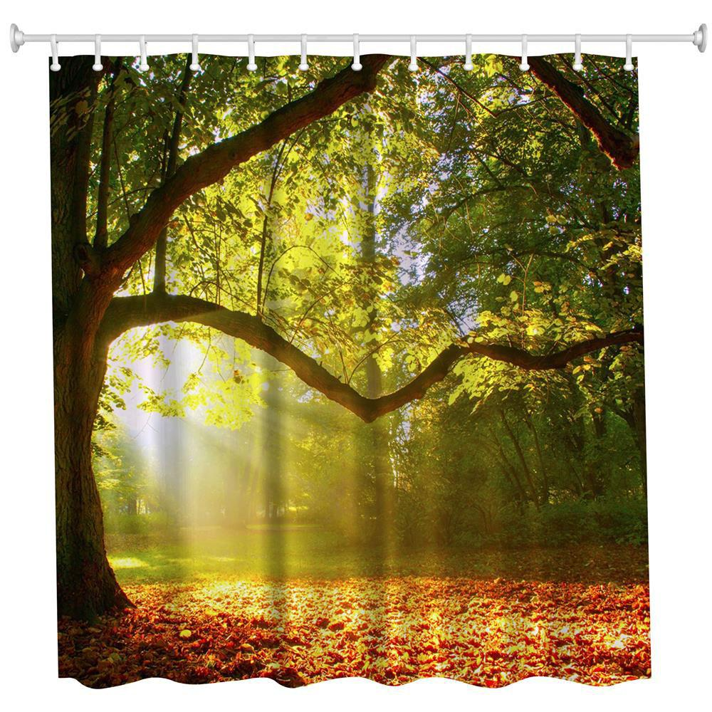 The tree light Polyester Shower Curtain Bathroom Curtain High Definition 3D Printing Water-Proof custom unique design original brown tree ring wood pattern waterproof bathroom shower curtain polyester fabric 48 w x72 h