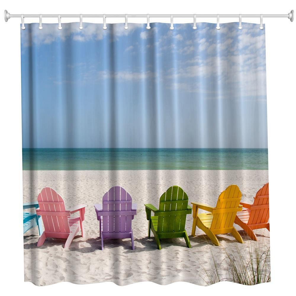 Multicolored Beach Chair Polyester Shower Curtain Bathroom Curtain High Definition 3D Printing Water-Proof the crow in haunted house polyester shower curtain bathroom curtain high definition 3d printing water proof