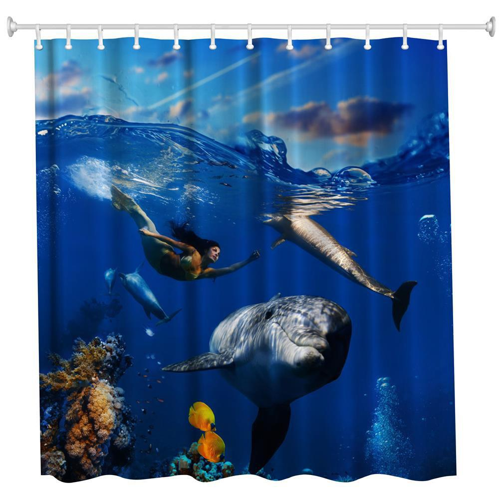 2018 The Mermaid and the Whale Polyester Shower Curtain Bathroom ...