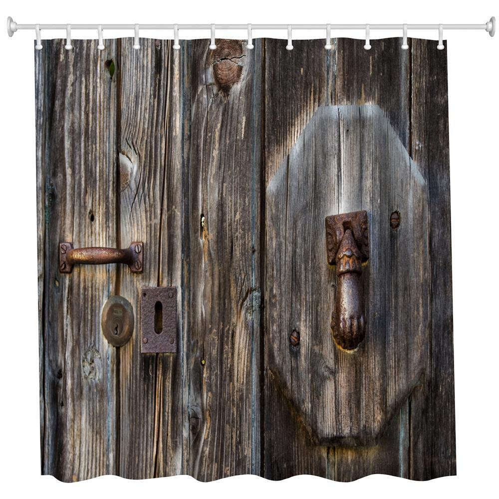 Coppery Door Polyester Shower Curtain Bathroom Curtain High Definition 3D Printing Water-Proof the crow in haunted house polyester shower curtain bathroom curtain high definition 3d printing water proof