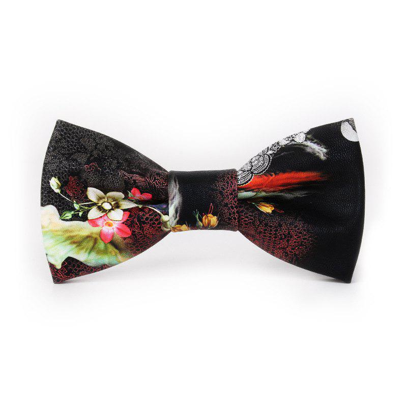 PU Leather Bow Tie for Men - BLACK/LILY