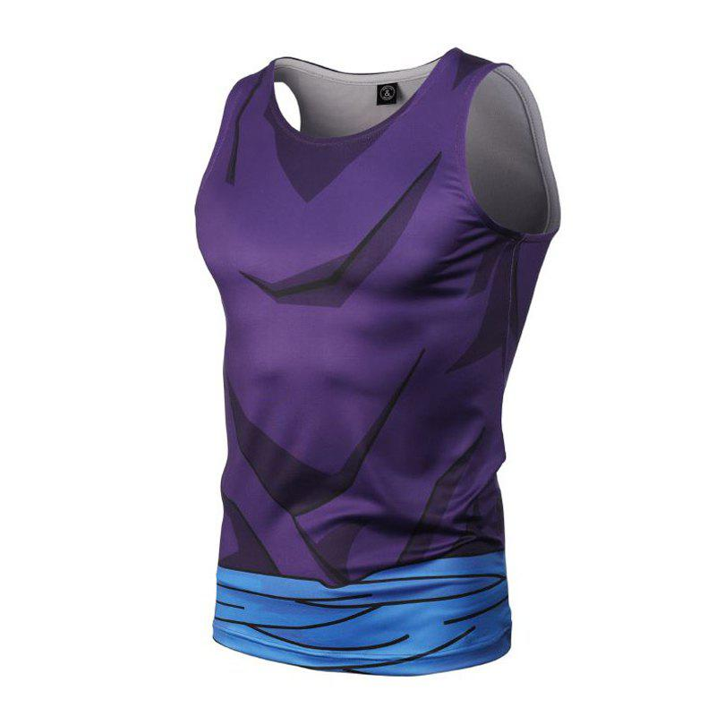 Fashion and Leisure Personality Creative Collision Color 3D Digital Print Vest Hot Style - BLUE 2XL