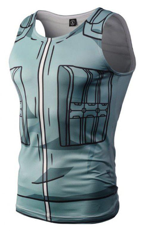 Fashion Casual Creative 3D Digital Print Vest Hot Style - BLUE GRAY 2XL
