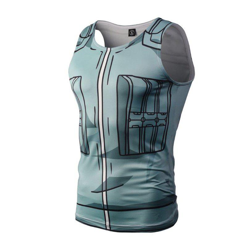 Fashion Casual Creative 3D Digital Print Vest Hot Style - BLUE GRAY L