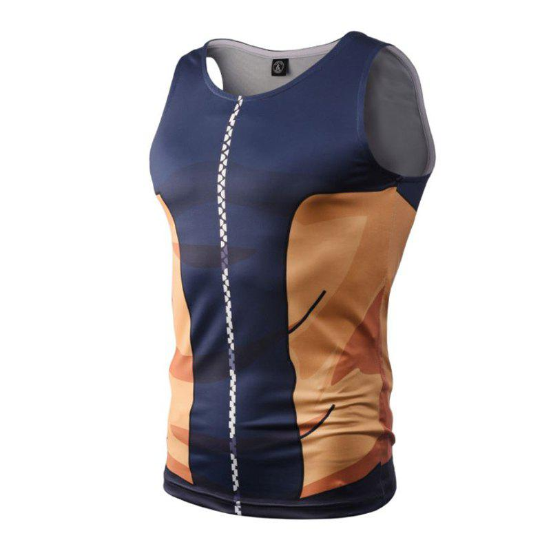 Street Fashion Casual Creative 3D Digital Printed Vest Hot Style - BLUE 2XL