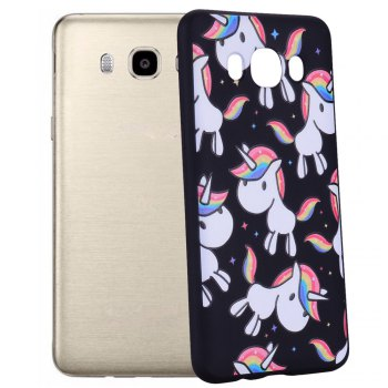 Case For Samsung Galaxy J5 2016 J510 Rainbow Unicorn TPU Mobile Phone Protection Shell - BLACK