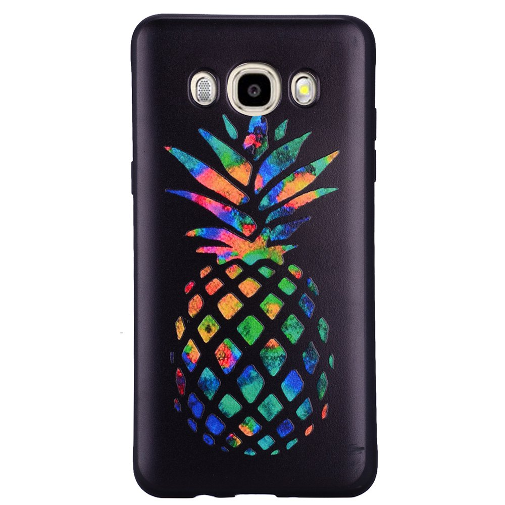 Case For Samsung Galaxy J5 2016 J510 Rainbow Pineapple TPU Mobile Phone Protection Shell - BLACK