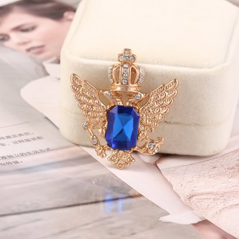 European and American vintage brooch sells hot style crown pin new flamingo fancy brooch - GOLD/BLUE 1PC
