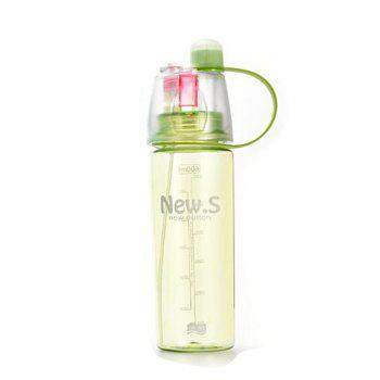 Sport Water Bottle Colored Transparent Portable Bottle With Mist Sprayer - GREEN GREEN