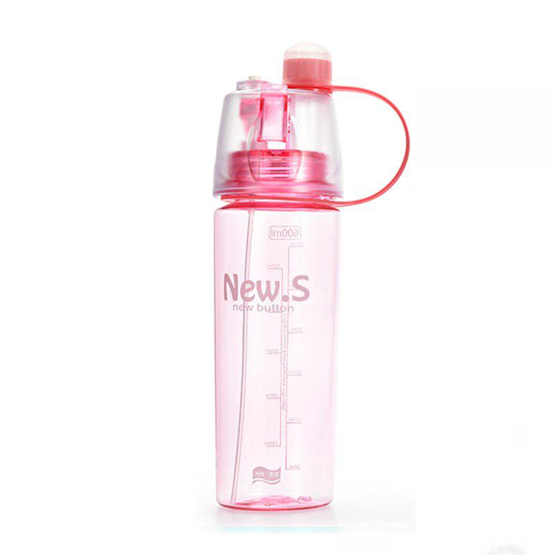 Sport Water Bottle Colored Transparent Portable Bottle With Mist Sprayer - PINK 26X7X7CM
