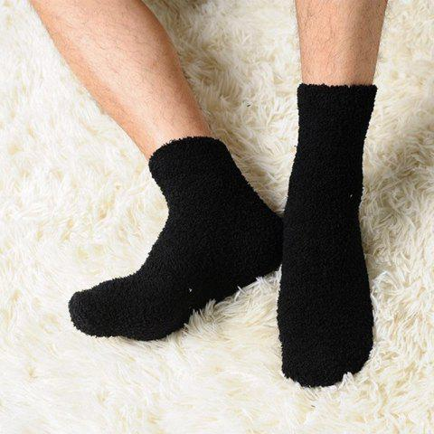 Fashionable Men Socks Pure Warm Winter Fluffy Soft Floor Home Footwear - BLACK