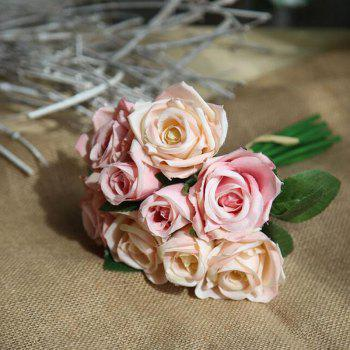 Simulation Rose Flowers Bouquet Lifesome Glorious Home Decorative Artificial Flowers - PINK CHAMPAGNE 27CM X 7CM