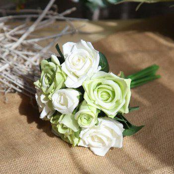 Simulation Rose Flowers Bouquet Lifesome Glorious Home Decorative Artificial Flowers - LIGHT GREEN 27CM X 7CM