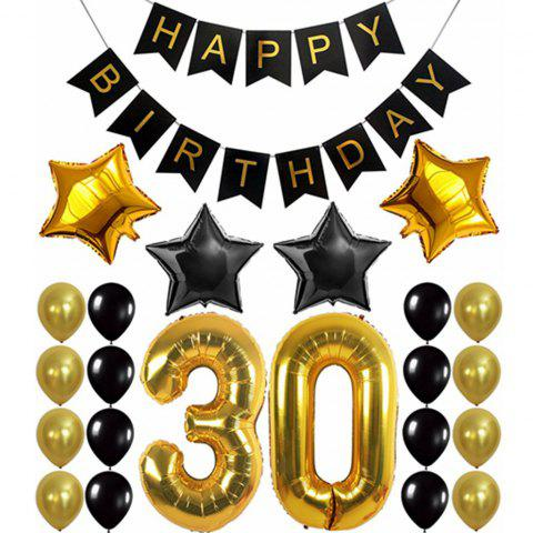 30th BIRTHDAY PARTY DECORATIONS KIT Birthday Banner Gold Number Balloons For Perfect 30 Years Old