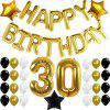 30th Birthday Party Decorations Kit Happy Birthday Letters 30th Gold Number Balloons Gold Black and White Latex Balloons Number 30 Perfect 30 Years Old Party Supplies - BLACK / GOLD 1 SET