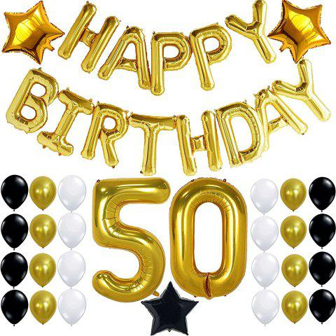 50th BIRTHDAY PARTY DECORATIONS KIT Birthday Foil Balloons 50 Number Balloon Gold Balck And White Latex Perfect Year Old Party Supplies