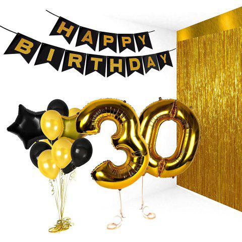 Birthday Party Pack White Happy Birthday Bunting Poms and Swirls Pack Birthday Decorations  21st 30th 40th 50th Birthday Party Supplies - BLACK / GOLD 30TH