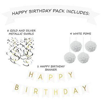 Birthday Party Pack White Happy Birthday Bunting Poms and Swirls Pack Birthday Decorations  21st 30th 40th 50th Birthday Party Supplies - WHITE 1 SET