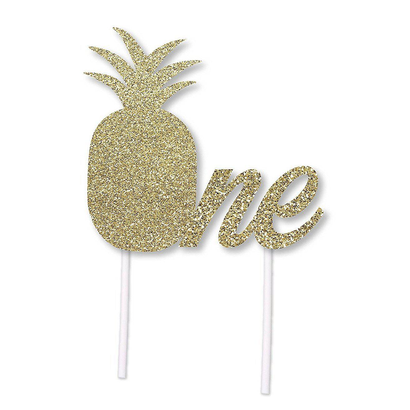 2pcs Gold Glitter Pineapple Birthday Cake Topper for 1st Birthday Party luau hawaii Themed - GOLD 2PCS
