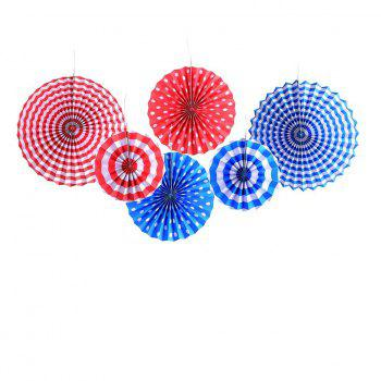 8pcs Paper Fans Party Decoration Colorful Hanging Paper Fans Set and Star Streamers Patrioticfor Party Birthday Events Supplies (Red/White/Blue) - AS THE PICTURE 8PCS