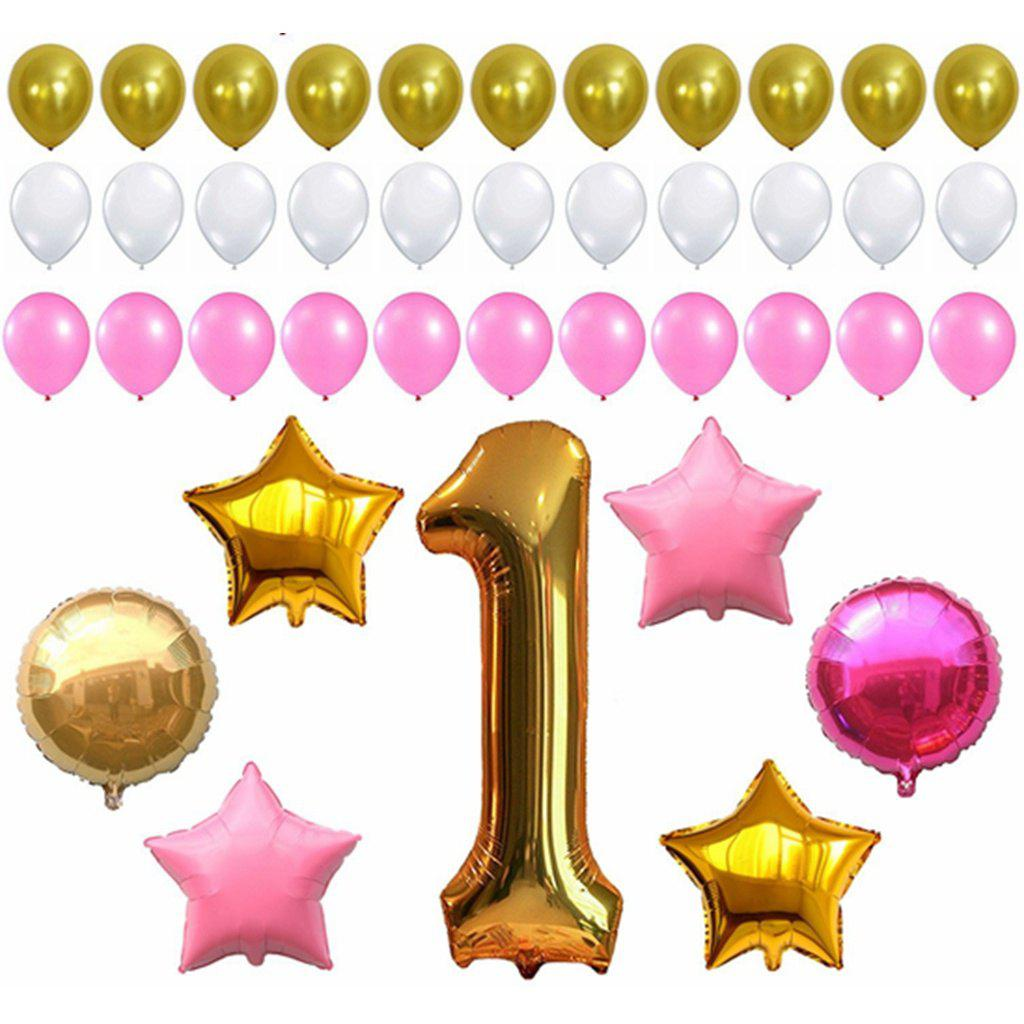 FIRST BIRTHDAY DECORATION Pink White Gold Balloons Kit Perfect for 1st Bday Party Supplies Girl or Boy Number One 1 Latex Stars and Round Balloon - multicolorCOLOR