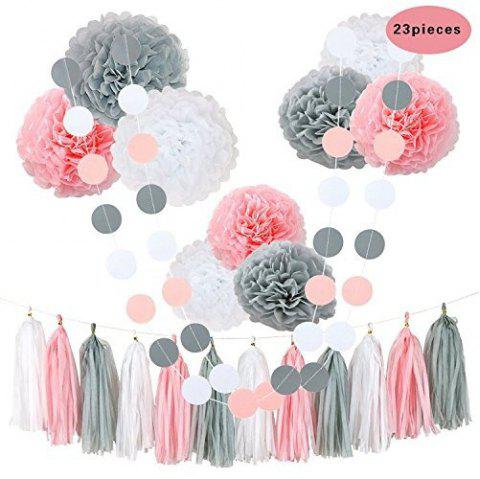 23Pcs Tissue Flowers Pom Poms Party Girl Paper Decorations First Birthday Girl Baby Shower Decorations - AS THE PICTURE 23PCS