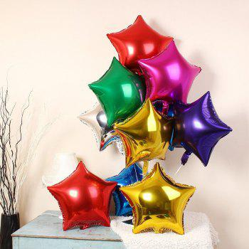 3pcs Star Shape Foil Mylar Balloons 6 Color 18 Inch Pentagram Balloon For Birthday Party Wedding Decoration - RED 3PCS
