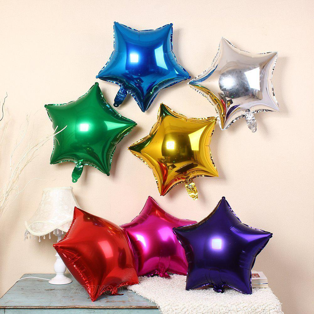 3pcs Star Shape Foil Mylar Balloons 6 Color 18 Inch Pentagram Balloon For Birthday Party Wedding Decoration - PINK 8PCS