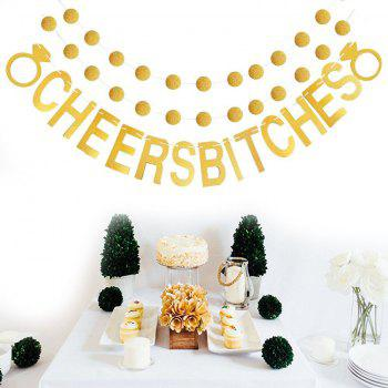 Cheers Bitches Bannière avec des paillettes d'or paillettes pour douche nuptiale Bachelorette Party Birthday Gold Party - Or 1 SET