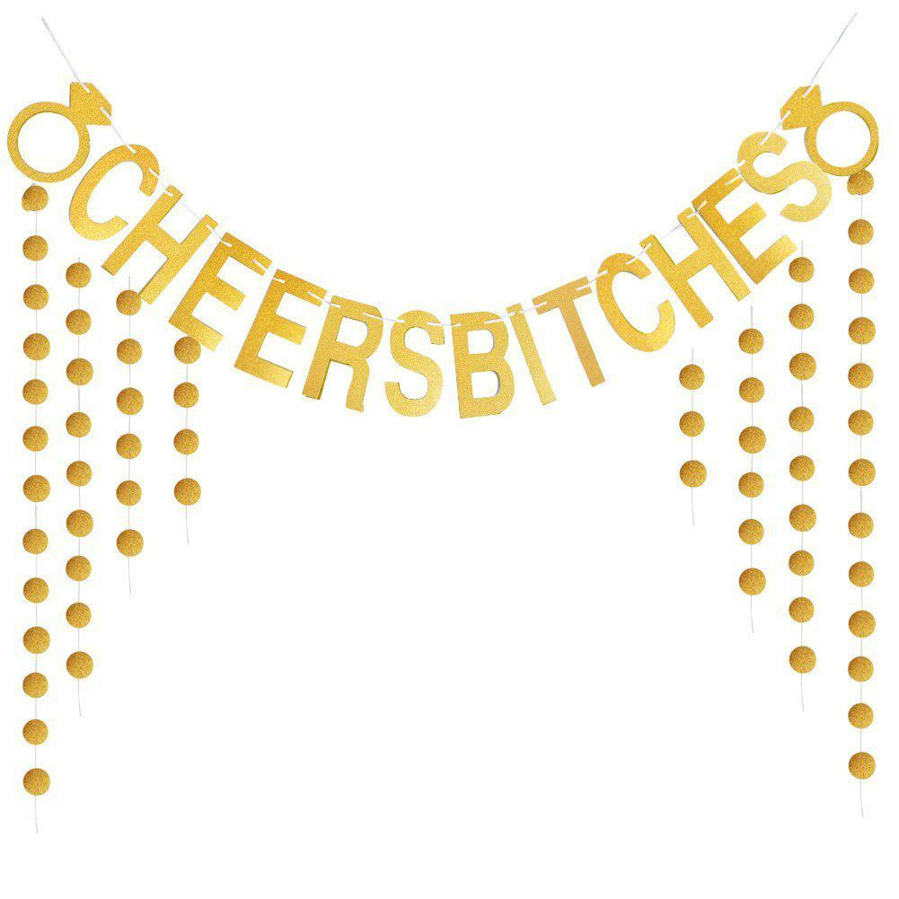 Cheers Bitches Banner With Gold Glitter Confetti For Bridal Shower Bachelorette Party Birthday Gold Party - GOLD 1 SET