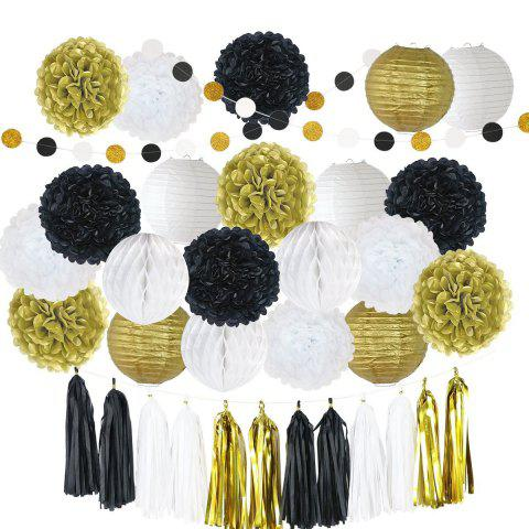 81Pcs Tissue Paper Pom Poms Flowers Kit Paper Lanterns Hanging Dot paper Garland Honeycomb Balls Tissue Tassels for Wedding Party Decoration Birthday Kids Bridal Shower Baby Shower - BLACK / GOLD 81PCS