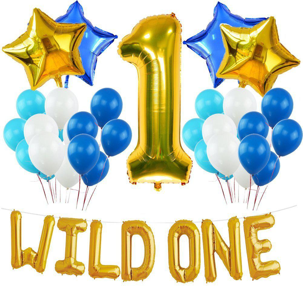 WILD ONE BIRTHDAY DECORATION KIT Blue and White Balloons Set Perfect for 1st Bday Party Supplies Girl or Boy - AS THE PICTURE 1ST