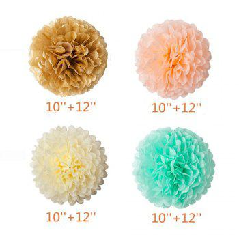 55pcs Mint Gold Peach Cream Baby Shower Decorations Party Balloons Paper Garland Tissue Paper Pom Poms Flowers Kit - multicolorCOLOR 55PCS