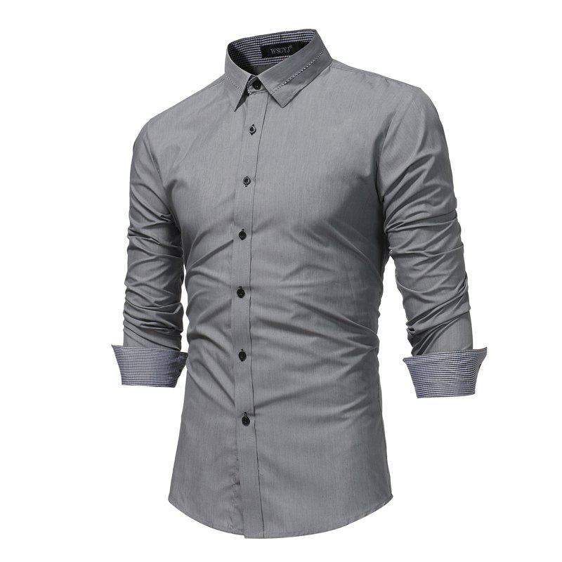 2018 men 39 s fashion business dress long sleeve shirt male for Mens business shirts sale