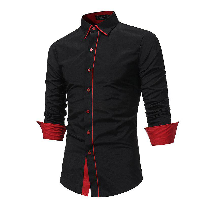Men 'S Fashion Stitching Casual Shirt Men' S Business Long - Sleeved Large Size Shirt 7679 и сказала золотая рыбка